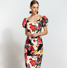 Load image into Gallery viewer, Floral Block Pencil Dress