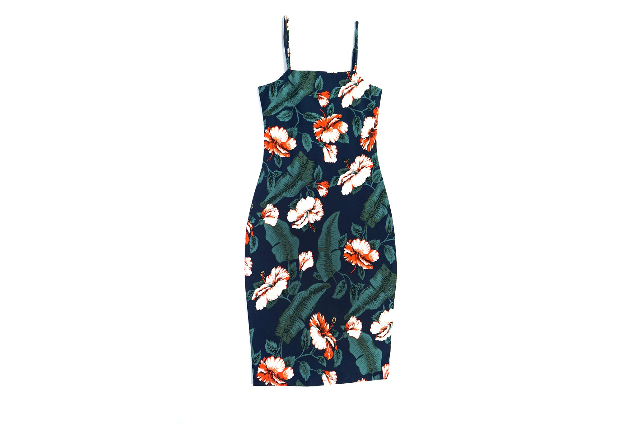 Banana-Hibiscus Midi Dress