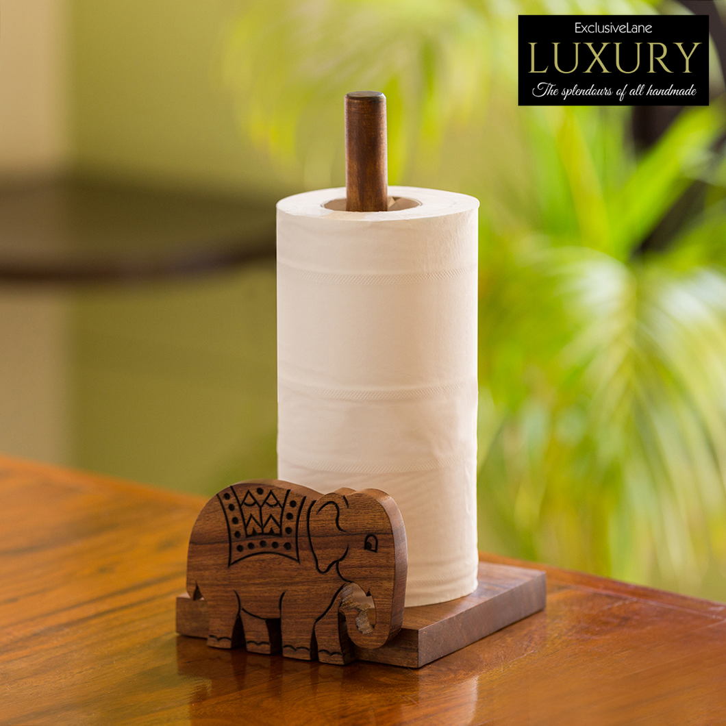 'The Elephant Warriors' Hand Carved Kitchen Tissue Roll Holder In Sheesham Wood (2 Rolls)