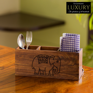 'The Elephant Warriors' Hand Carved Cutlery Holder In Sheesham Wood (4 Partitions)