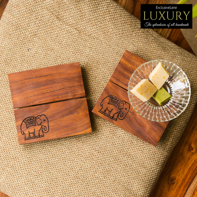 'The Elephant Warriors' Hand Carved Trivets In Sheesham Wood (Set of 2)