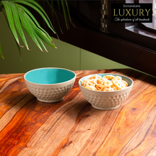Load image into Gallery viewer, 'Earthen Turquoise' Hand Glazed Serving Bowls In Ceramic (Set of 2, 350 ML, Microwave Safe)