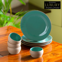 Load image into Gallery viewer, 'Earthen Turquoise' Hand Glazed Dinner Plates With Katoris In Ceramic (8 Pieces, Serving for 4, Microwave Safe)
