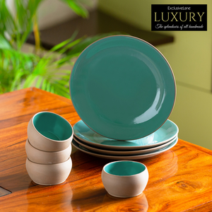 'Earthen Turquoise' Hand Glazed Dinner Plates With Katoris In Ceramic (8 Pieces, Serving for 4, Microwave Safe)