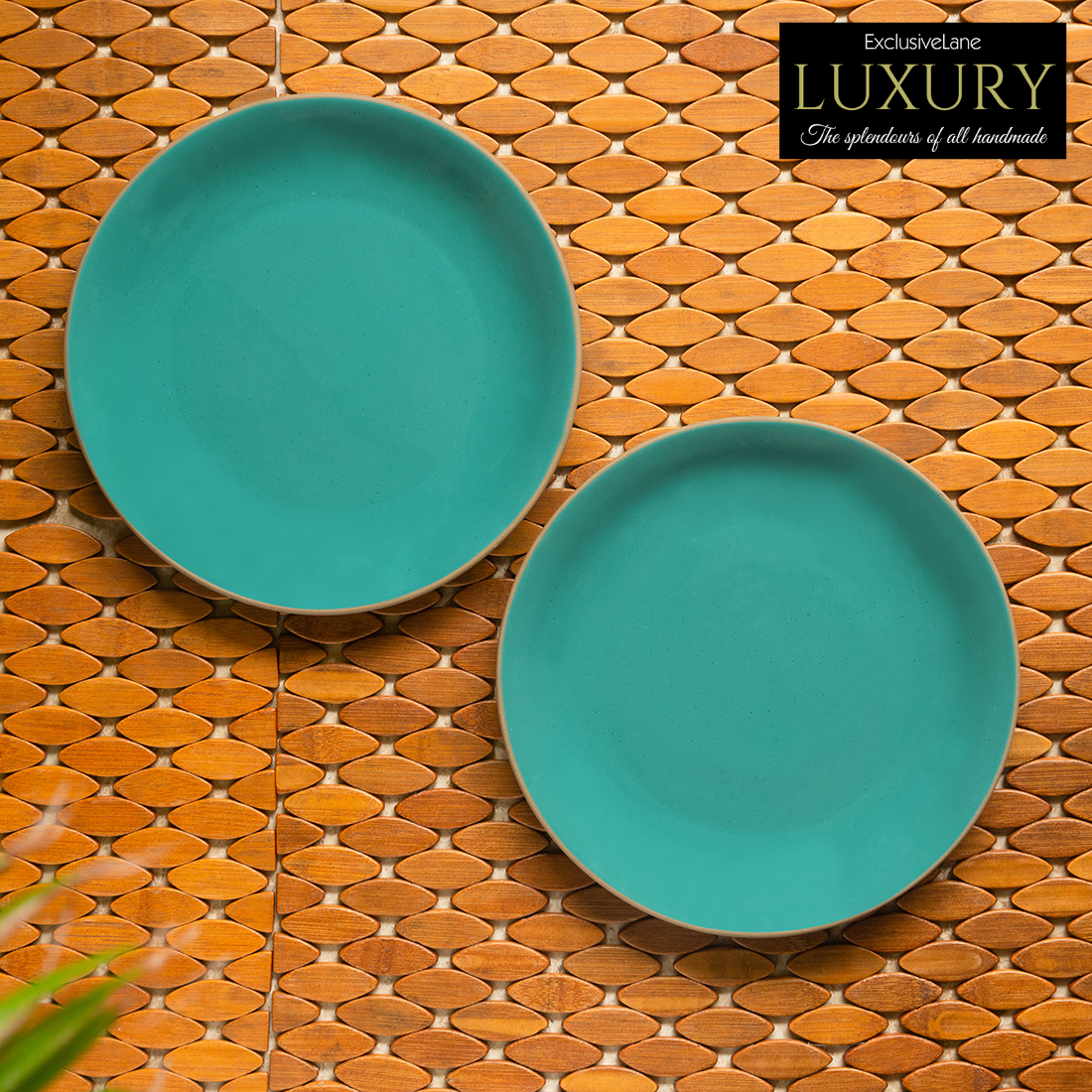 Beautiful Hand Carved Glazed Porcelain Pottery Plate-Turquoise