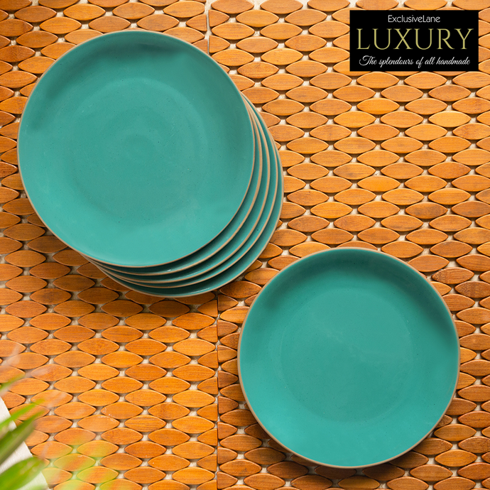 'Earthen Turquoise' Hand Glazed Dinner Plates In Ceramic (Set of 6, Microwave Safe)