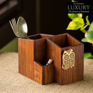 'Hoot Of The Owl' Cutlery Holder Handcrafted In Sheesham Wood