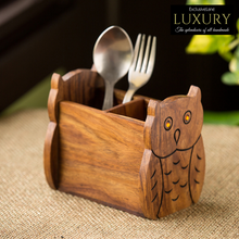 Load image into Gallery viewer, 'The Delightful Owls' Cutlery Cum Stationery Holder In Sheesham Wood