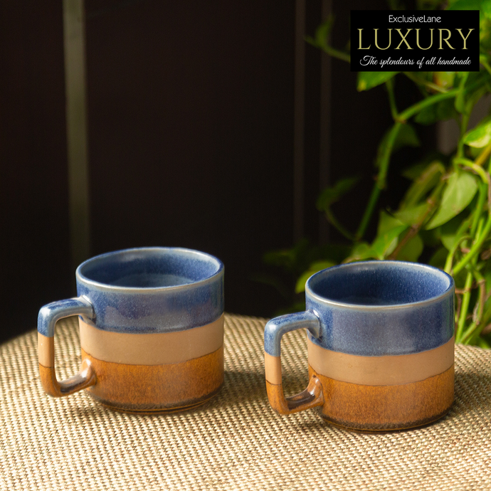 'Caramel Blues' Hand Glazed Studio Pottery Tea & Coffee Mugs In Ceramic (Set of 2, 360 ML, Microwave Safe)