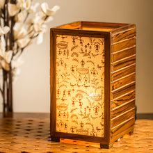 Load image into Gallery viewer, Teak Wood Warli Hand Painted Table Lamp