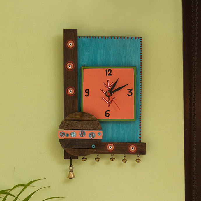 'Desert Timer' Hand-Painted Wooden Wall Clock In Turquoise Blue & Peach
