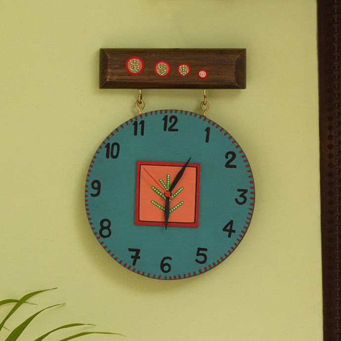 'Oasis Timing' Hand-Painted Wooden Wall Clock In Turquoise Blue & Peach