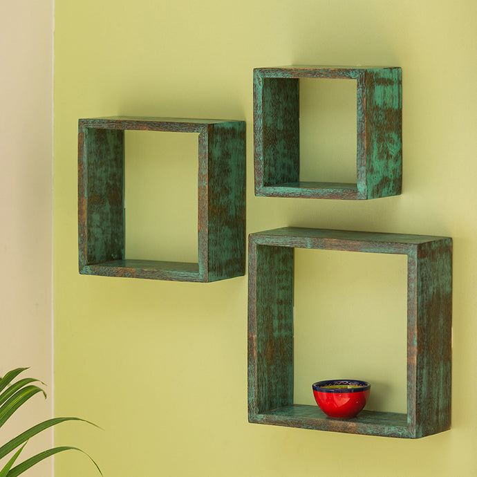 'Rustic Squares' Antique Finish Nested Wall Shelves In Mango Wood (Set of 3)
