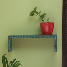 'Rustic Planks' Antique Finish Nested Wall Shelf In Mango Wood