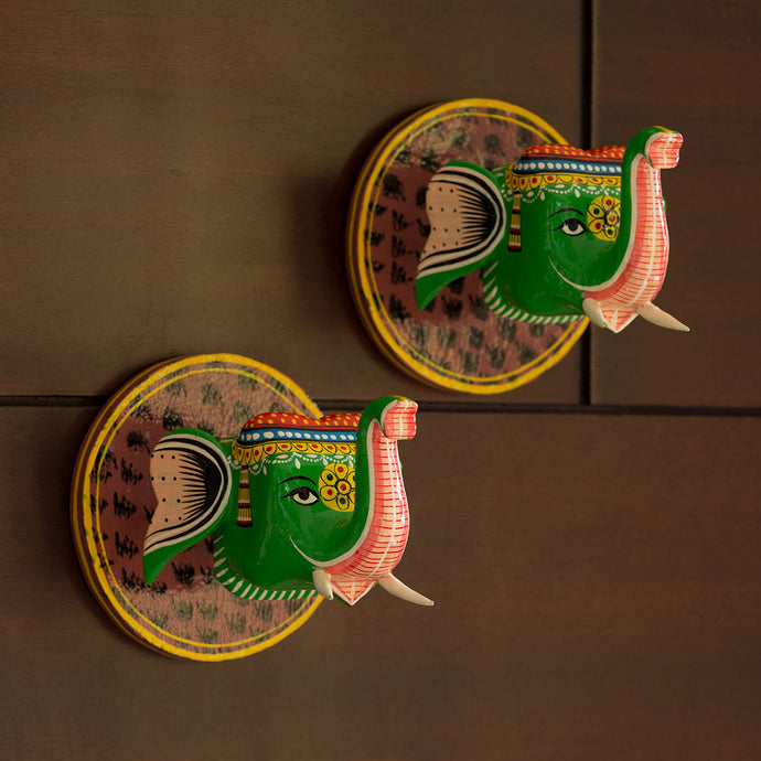 'The Hanging Tusks' Hand-Painted Wall Hangings In Gullar Wood (Set of 2)