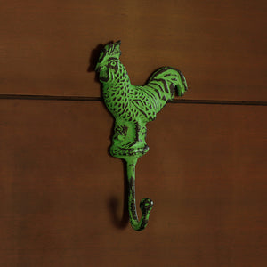 """The Virescent Rooster"" Rustic Aluminium Wall Decor & Wall Hook (8 Inch)"