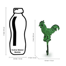 "Load image into Gallery viewer, ""The Virescent Rooster"" Rustic Aluminium Wall Decor & Wall Hook (8 Inch)"
