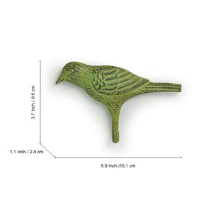 """The Green Pigeon"" Rustic Aluminium Wall Decor & Wall Hook (6 Inch)"