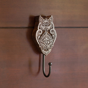 """Alluring Owl"" Hand-Carved Block Wall Hook & Towel Holder In Sheesham Wood"