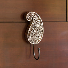 "Load image into Gallery viewer, ""Pleasant Paisley"" Hand-Carved Block Wall Hook & Towel Holder In Sheesham Wood"