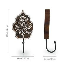 "Load image into Gallery viewer, ""Charming Tree "" Hand-Carved Block Wall Hook & Towel Holder In Sheesham Wood"