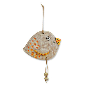 """Dotted Fish"" Handmade & Hand-Painted Garden Decorative Wall Hanging In Terracotta"
