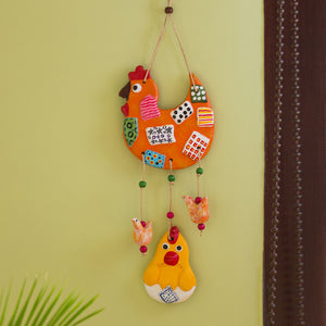 """Hen Family"" Handmade & Hand-Painted Garden Decorative Wall Hanging In Terracotta"