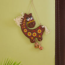"Load image into Gallery viewer, ""White-Haired Horse"" Handmade & Hand-Painted Garden Decorative Wall Hanging In Terracotta"