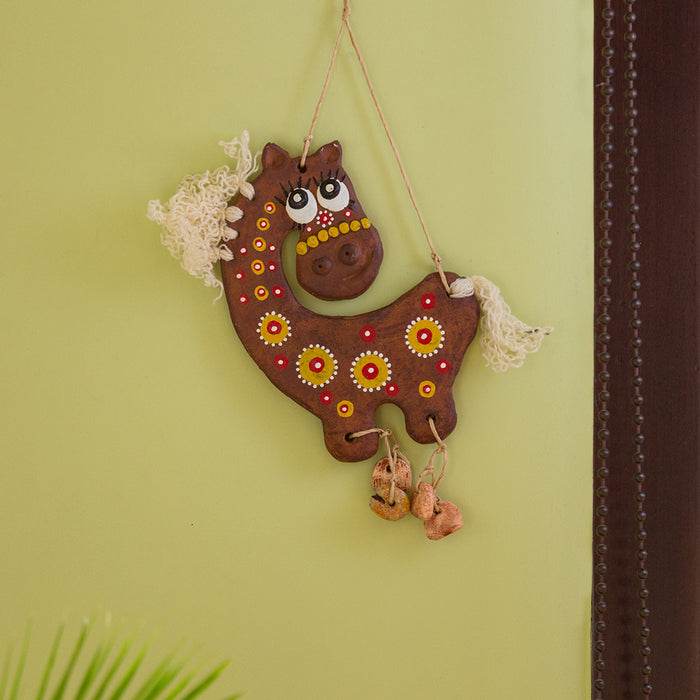 """White-Haired Horse"" Handmade & Hand-Painted Garden Decorative Wall Hanging In Terracotta"