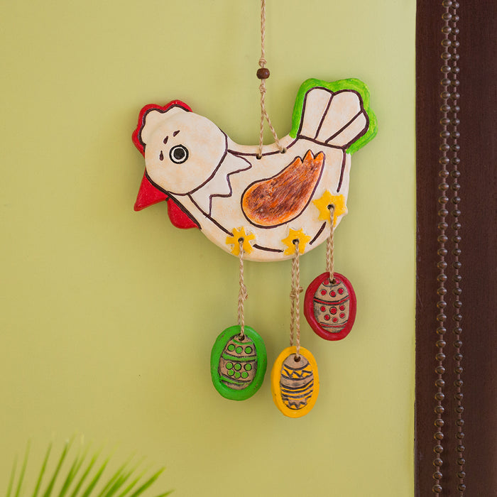 """Caring Hen"" Handmade & Hand-Painted Garden Decorative Wall Hanging In Terracotta"