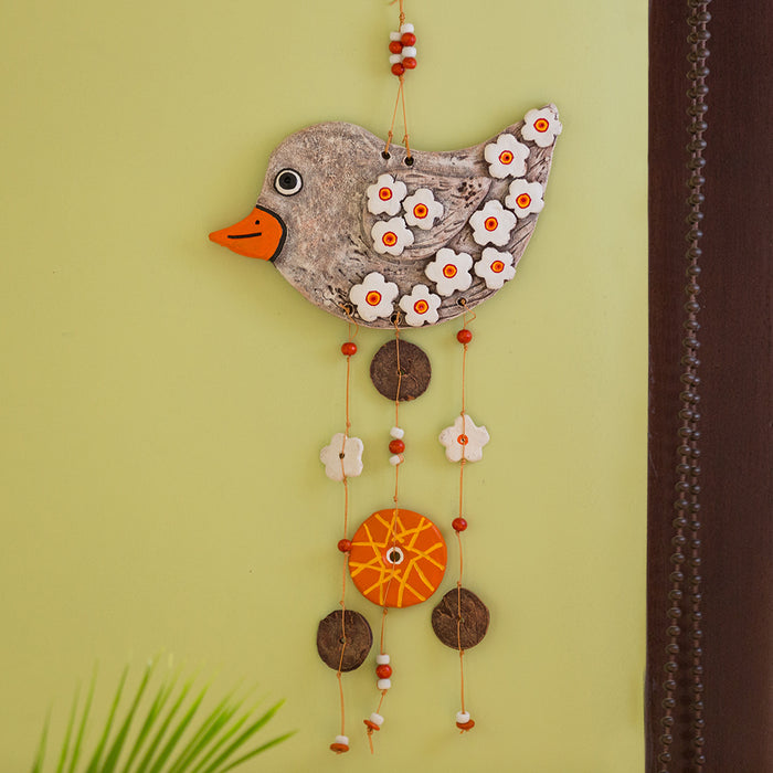 """Chirping Songbird"" Handmade & Hand-Painted Garden Decorative Wall Hanging In Terracotta"
