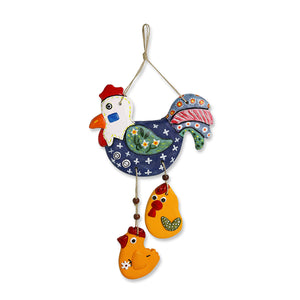 """Rooster & Chicks"" Handmade & Hand-Painted Garden Decorative Wall Hanging In Terracotta"