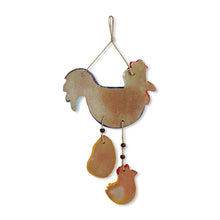 "Load image into Gallery viewer, ""Rooster & Chicks"" Handmade & Hand-Painted Garden Decorative Wall Hanging In Terracotta"