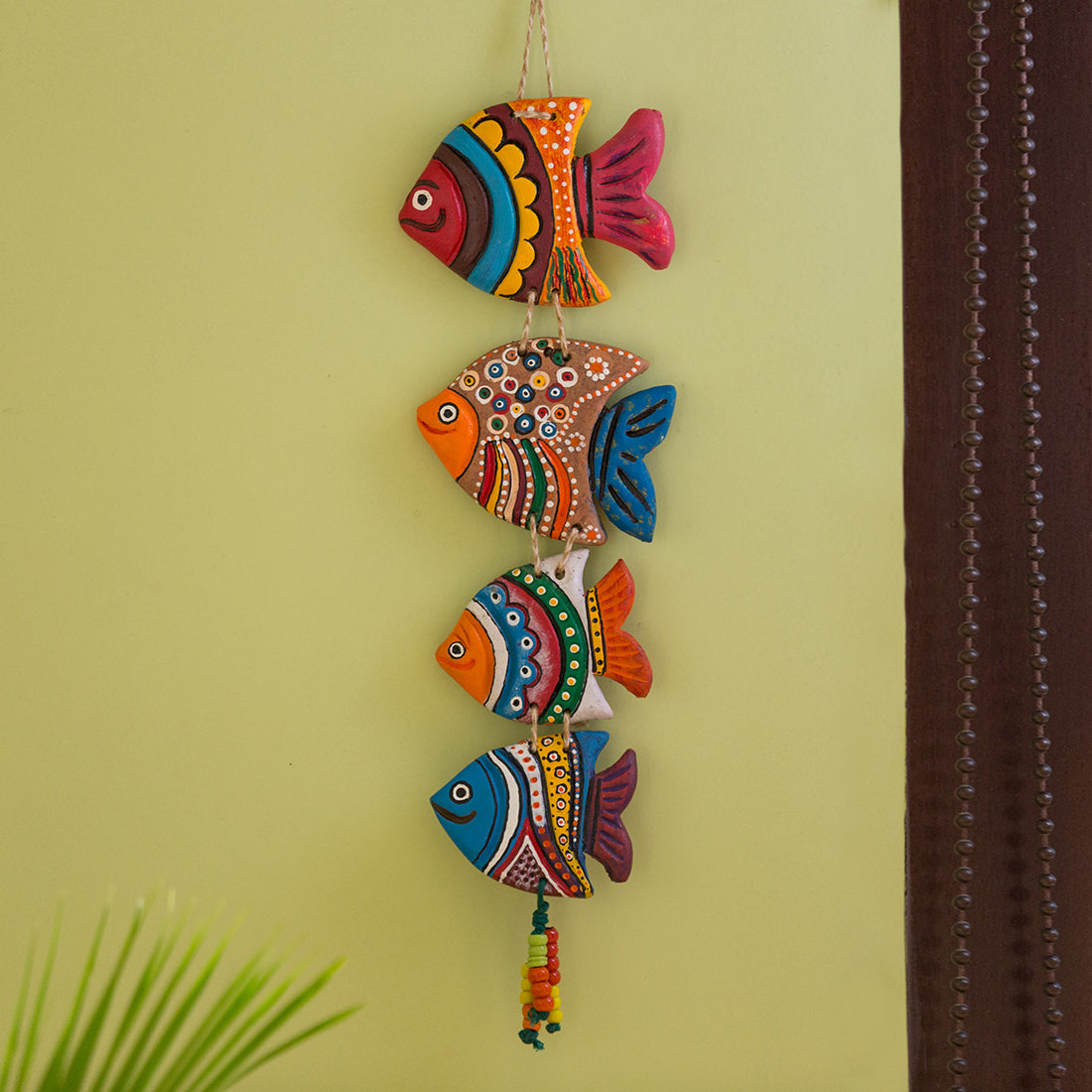 """Coloured Fish"" Handmade & Hand-Painted Garden Decorative Wall Hanging In Terracotta"