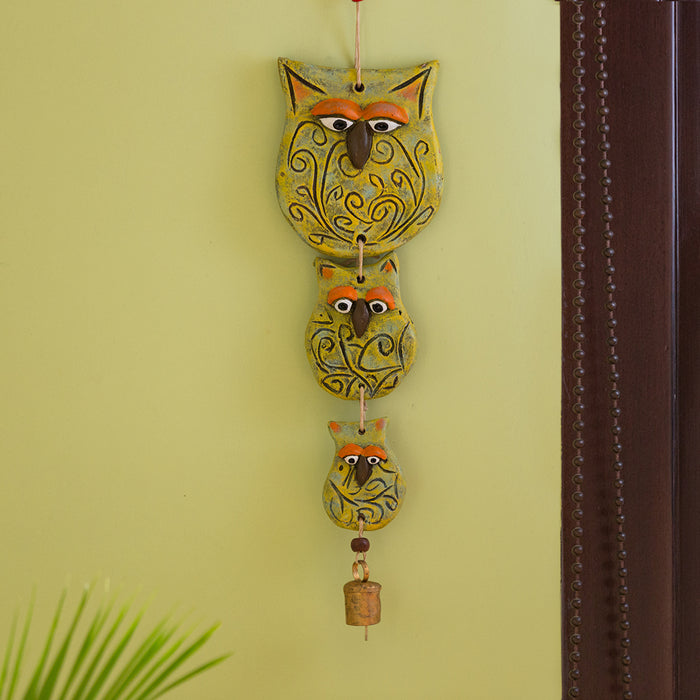 """Owl Family"" Handmade & Hand-Painted Garden Decorative Wall Hanging In Terracotta"