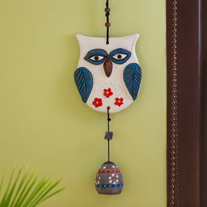 """Hanging Owl"" Handmade & Hand-Painted Garden Decorative Wall Hanging Bell In Terracotta"