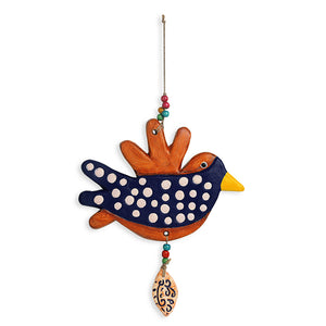 """Spotted Songbird"" Handmade & Hand-painted Garden Decorative Wall Hanging In Terracotta"