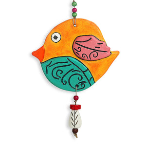 """Flappy Fish"" Handmade & Hand-painted Garden Decorative Wall Hanging In Terracotta"