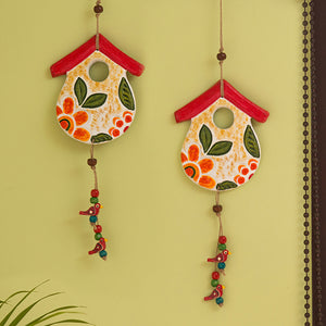 """Farm Huts"" Handmade & Hand-painted Garden Decorative Wall Hanging In Terracotta (Set of 2)"