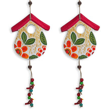 "Load image into Gallery viewer, ""Farm Huts"" Handmade & Hand-painted Garden Decorative Wall Hanging In Terracotta (Set of 2)"