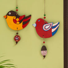 "Load image into Gallery viewer, ""Feathered Sparrows"" Handmade & Hand-painted Garden Decorative Wall Hanging In Terracotta (Set of 2)"