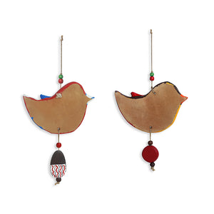 """Feathered Sparrows"" Handmade & Hand-painted Garden Decorative Wall Hanging In Terracotta (Set of 2)"