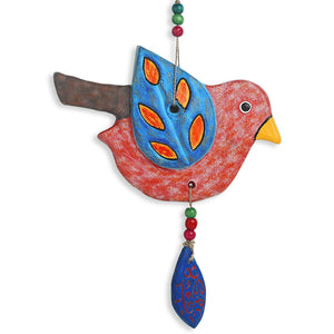 """Feathered Birdies"" Handmade & Hand-painted Garden Decorative Wall Hanging In Terracotta (Set of 2)"