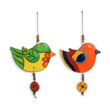 "Load image into Gallery viewer, ""Flapping Birdies"" Handmade & Hand-painted Garden Decorative Wall Hanging In Terracotta (Set of 2)"