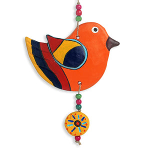 """Flapping Birdies"" Handmade & Hand-painted Garden Decorative Wall Hanging In Terracotta (Set of 2)"