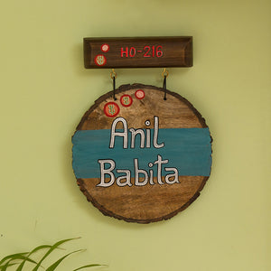 'Oasis Labels' Customizable Wooden Name Plate In Light Brown & Turquoise Blue (Handwritten Fonts)