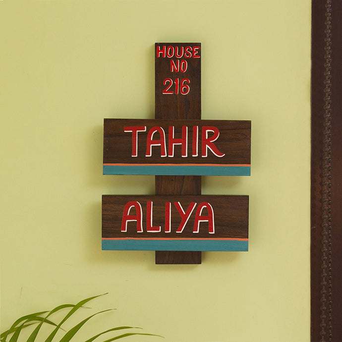 'Planked Labels' Customizable Wooden Name Plate (Handwritten Fonts)
