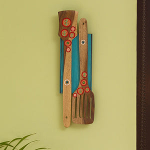 'Desert Spatulas' Hand-Painted Wall Décor In Mango & Pine Wood