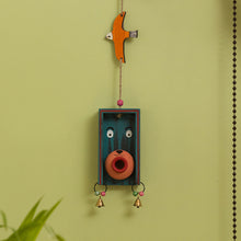 Load image into Gallery viewer, 'Oasis Pot-Face Birdie' Hand-Painted Decorative Wall Hanging In Terracotta & Wood
