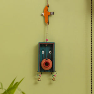 'Oasis Pot-Face Birdie' Hand-Painted Decorative Wall Hanging In Terracotta & Wood